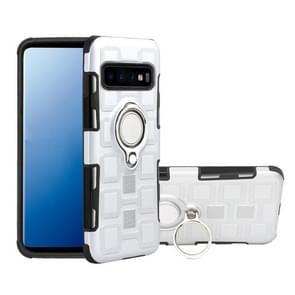 Voor Galaxy S10+ 2 In 1 Cube PC + TPU beschermhoes met 360 graden draai zilveren ringhouder(zilver)