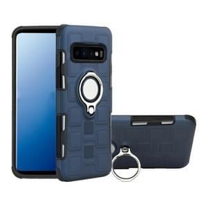 Voor Galaxy S10+ 2 In 1 Cube PC + TPU beschermhoes met 360 graden draai zilveren ringhouder (Marineblauw)