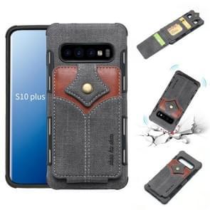 Voor Galaxy S10 PLUS doek textuur + PU + TPU schokbestendige beschermhoes met kaartsleuven (zwart)