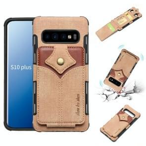 Voor Galaxy S10 PLUS doek textuur + PU + TPU schokbestendige beschermhoes met kaartsleuven (kaki)