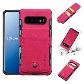 Voor Galaxy S10 PLUS doek textuur + TPU schokbestendige beschermhoes met verticale Flip kaartsleuven (Rose rood)
