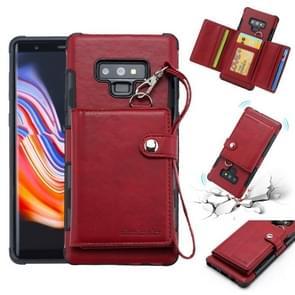 Voor Galaxy Note 9 schokbestendige PC + TPU beschermhoes  met kaartsleuven & portemonnee & foto frame & Lanyard (wijn)