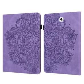 Voor Samsung Galaxy Tab S2 9.7 T815 Peacock Embossed Pattern TPU + PU Horizontale Flip Lederen Case met Holder & Card Slots & Wallet(Paars)