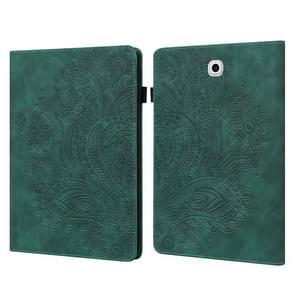 Voor Samsung Galaxy Tab S2 9.7 T815 Peacock Embossed Patroon TPU + PU Horizontale Flip Lederen Case met Houder & Kaart Slots & Portemonnee (Groen)