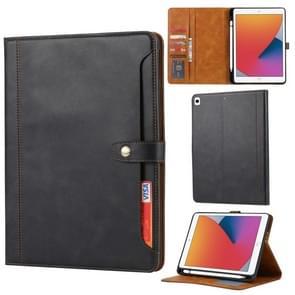 Kalfstextuur Dubbele vouwsluiting horizontale flip lederen kast met Photo Frame & Holder & Card Slots & Wallet Voor iPad 10.2(Zwart)