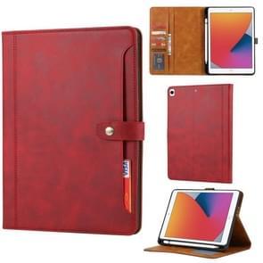 Kalfstextuur Dubbele vouwsluiting horizontale flip lederen kast met Photo Frame & Holder & Card Slots & Wallet Voor iPad 10.2(Rood)