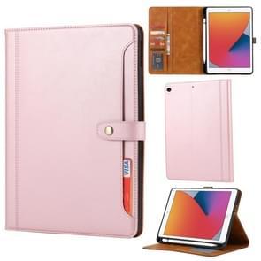 Kalfstextuur Dubbele vouwsluiting horizontale flip lederen kast met Photo Frame & Holder & Card Slots & Wallet Voor iPad 10.2 (Rose Gold)