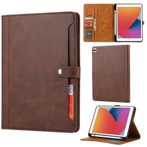 Kalfstextuur Dubbele vouwsluiting horizontale flip lederen kast met photo frame & houder & kaartslots & portemonnee voor iPad 10.2(Koffie)