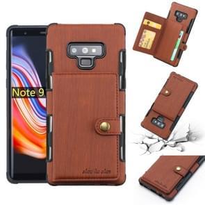 Voor Galaxy Note9 geborsteld textuur schokbestendig PU + TPU case  met kaartsleuven & portemonnee & fotolijstjes (bruin)