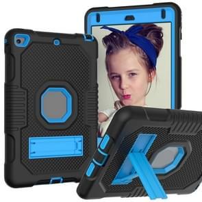 Contrast kleur robot schokbestendig siliconen + pc beschermende behuizing met houder voor iPad mini 5 & 4 (zwart blauw)