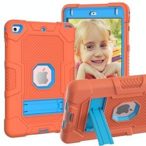 Contrast kleur robot schokbestendig siliconen + pc beschermende behuizing met houder voor iPad mini 5 / 4 (oranje blauw)