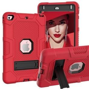 Contrast kleur robot schokbestendig siliconen + pc beschermende behuizing met houder voor iPad mini 5 / 4 (rood zwart)