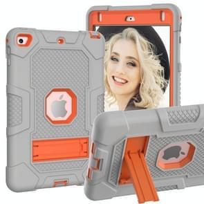 Contrast kleur robot schokbestendig siliconen + pc beschermende behuizing met houder voor iPad mini 5 / 4 (grijs oranje)