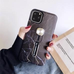 Voor iPhone 11 Pro marmer schokbestendige multi-functionele onzichtbare ring houder beschermhoes met voertuig magnetische blad (zwart)