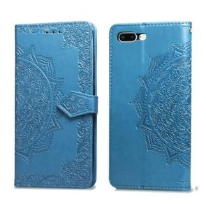 Voor iPhone 8 plus/7 plus halverwege Mandala reliëf patroon horizontale Flip lederen draagtas met houder & kaartsleuven & portemonnee & Lanyard (blauw)