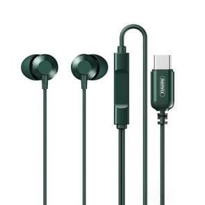 REMAX RM-512a USB-C / Type-C Metal In-ear Bedrade Oortelefoon  Ondersteuning Muziek & Oproep (Groen)