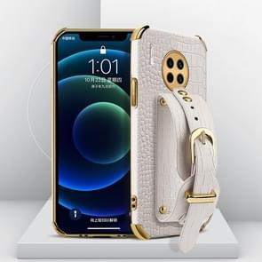 Voor Huawei Mate 30 Gegalvaniseerde TPU Crocodile Pattern Lederen Case met Polsband (Wit)