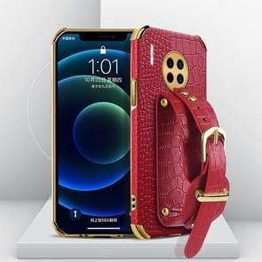 Voor Huawei Mate 30 Gegalvaniseerde TPU Crocodile Patroon Lederen Case met Polsband (Rood)