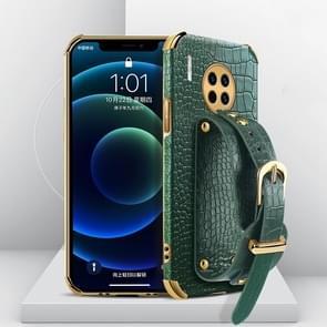 Voor Huawei Mate 30 Gegalvaniseerde TPU Crocodile Patroon Lederen Case met Polsband (Groen)