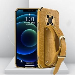 Voor Huawei Mate 40 Gegalvaniseerde TPU Crocodile Patroon Lederen Case met Polsband (Geel)