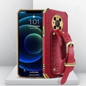 Voor Huawei Mate 40 Gegalvaniseerde TPU Crocodile Patroon Lederen Case met Polsband (Rood)