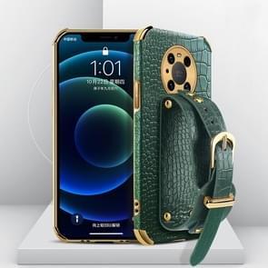 Voor Huawei Mate 40 Gegalvaniseerde TPU Crocodile Patroon Lederen Case met Polsband (Groen)