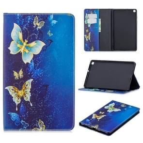 Voor Galaxy Tab A 8.0 (2019) T290 Gekleurd tekenpatroon Horizontaal Flip Lederen Hoes met Houder & Kaartsleuven & Wallet(Gouden Vlinder)