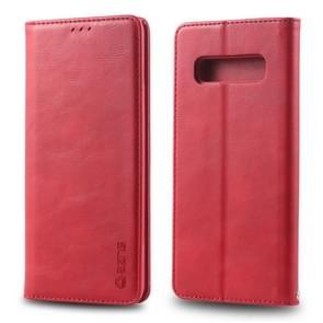 Voor Galaxy S10 plus AZNS retro textuur magnetische horizontale Flip PU lederen draagtas met houder & kaartsleuven & fotolijstjes (rood)