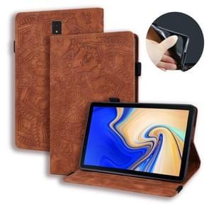 Voor Galaxy tab S4 10 5 T830/T835 kalf patroon dubbele vouwen ontwerp reliëf lederen draagtas met houder & kaartsleuven & pen slot & elastische band (bruin)