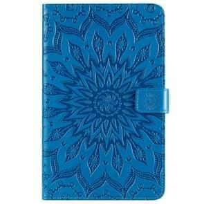 Voor Galaxy tab A 8 0 & S pen (2019) gedrukt afdrukken zon bloem patroon horizontale Flip lederen draagtas met houder & kaartsleuven & portemonnee (blauw)