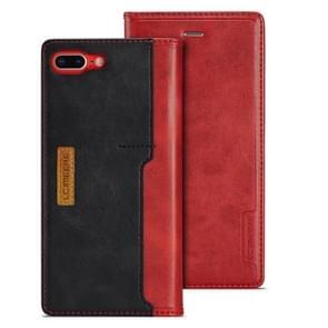Voor iPhone 7 plus/8 plus LC. IMEEKE LC-001 serie PU + TPU kleur bijpassende Frosted horizontale Flip lederen draagtas met houder & kaartsleuf (rood)