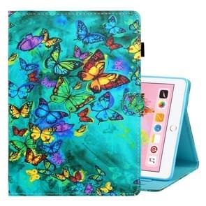 Voor iPad 10 2/Air 10 5 (2019) gekleurde tekening horizontale Flip PU lederen draagtas met houder & kaartsleuf & slaap/Wake-up functie (groene vlinder)