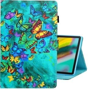 Voor Galaxy tab S5e T720 gekleurde tekening horizontale Flip PU lederen draagtas met houder & kaartsleuf & slaap/Wake-up functie (groene vlinder)