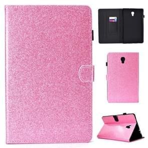 Voor Galaxy tab A 10 5 T590 vernis glitter poeder horizontale Flip lederen draagtas met houder & kaartsleuf (roze)
