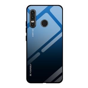 Voor Huawei P30 Lite gradiënt kleur glas geval (blauw)