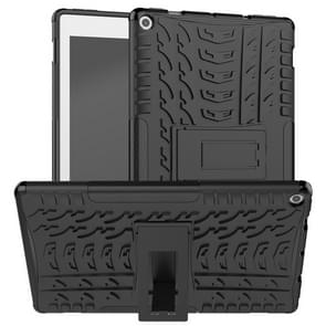 For Amazon Kindle Fire HD 10 2019 Tire Texture TPU + PC Shockproof Case with Holder(Black)