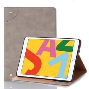 Voor iPad 10.2 / 10.5 Retro Book Style Horizontal Flip Leather Case met Holder & Card Slots & Wallet(Grey)
