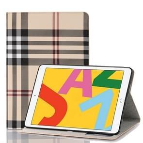 Voor iPad 10.2 / 10.5 Plaid Texture Horizontal Flip Leather Case met Holder & Card Slots & Wallet(White)