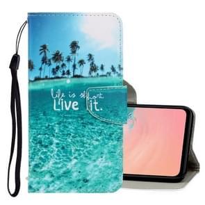 Voor Galaxy S20+ 3D Gekleurde Tekening Horizontale Flip PU Lederen Hoes met Houder & Card Slots & Wallet(Coconut Tree)
