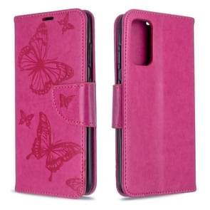 Voor Galaxy S20 Embossing Two Butterflies Pattern Horizontal Flip PU Leather Case met Holder & Card Slot & Wallet & Lanyard(Rose Red)