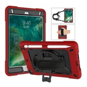 Voor iPad Mini 5 / 4 contrastkleur siliconen + pc-combinatiecase met houder (rood + zwart)