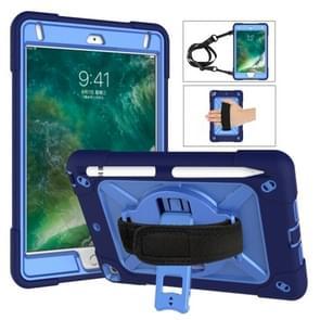 Voor iPad Mini 5 / 4 contrastkleur siliconen + pc-combinatiecase met houder (Navy Blue + Blauw)