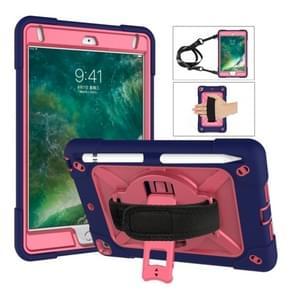Voor iPad Mini 5 / 4 Contrast Kleur Siliconen + PC Combinatie Case met Houder (Navy Blue + Rose Red)