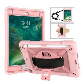 Voor iPad Mini 5 / 4 contrastkleur siliconen + pc-combinatiecase met houder (Roségoud)