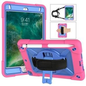 Voor iPad Mini 5 / 4 contrastkleur siliconen + pc-combinatiecase met houder (Rose Red + Blauw)