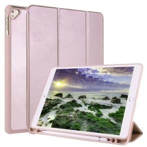 Voor iPad 9 / 8 / 7 / 6 / 5 Horizontale Flip Tablet PC PU Lederen Hoes met drie opvouwbare houder & pen slot (Rose Gold)