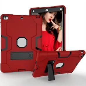 Voor iPad 4 / 3 / 2 siliconen + pc-beschermhoes met standaard (rood + grijs)