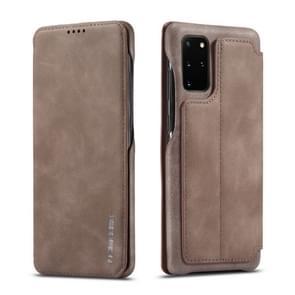 Voor galaxy s20+ LC. IMEEKE Hon Ancient Series Horizontal Flip Leather Case met Holder & Card Slot(Koffie)