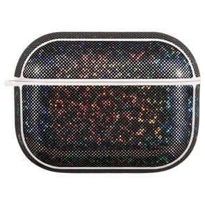 NIILLKIN Anti-fall PU + TPU Shining Protection Glitter Case voor AirPods Pro(Zwart)
