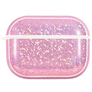 NIILLKIN Anti-fall PU + TPU Shining Protection Glitter Case voor AirPods Pro (Roze)